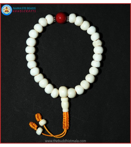 White Bone Wrist Mala with Coral Bead