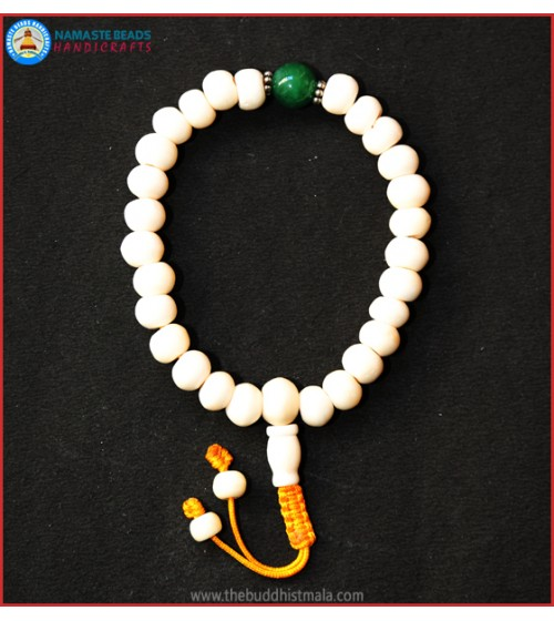 White Bone Wrist Mala with Jade Bead