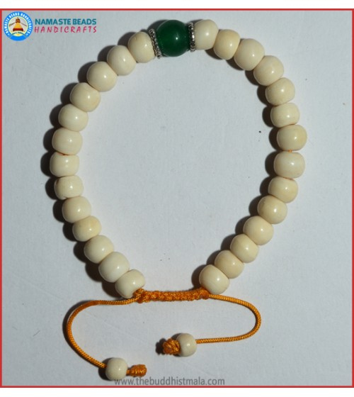 White Bone Bracelet with Jade Bead