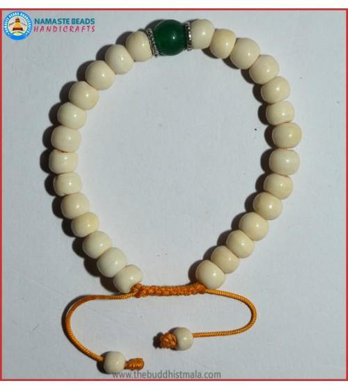 White Bone Bracelet with Jade Bead