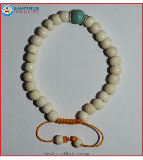 White Bone Bracelet with Turquoise Bead