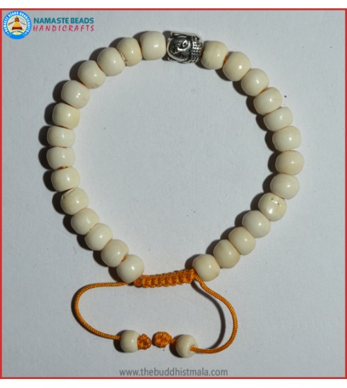 White Bone Bracelet with Buddha Head