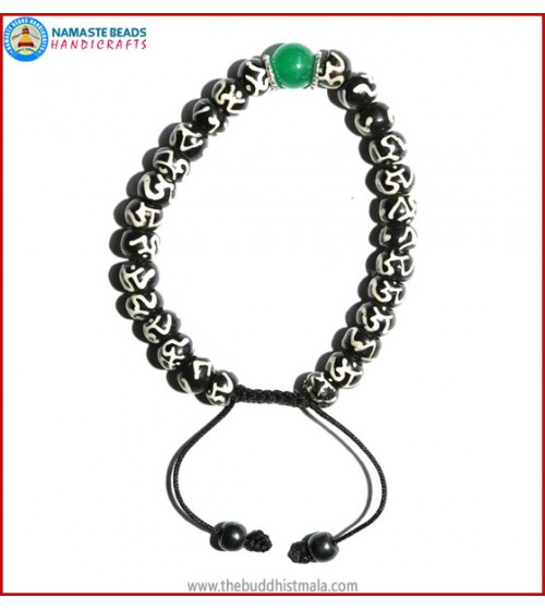 Tibetan OM Itching Bone Bracelet with Jade Bead