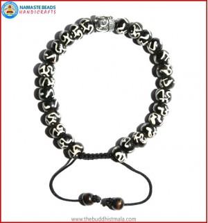 Tibetan OM Itching Bone Bracelet with Buddha Head
