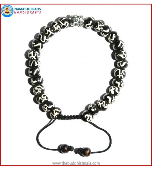 Tibetan OM Itching Bone Bracelet with Buddha Head
