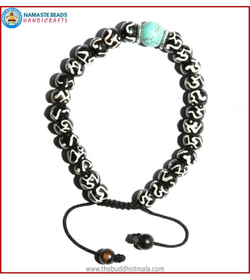 Tibetan OM Itching Bone Bracelet with Turquoise Bead