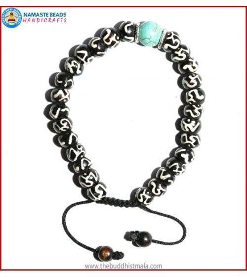 Tibetan OM Itching Bone Bracelet with Turquoise Bead