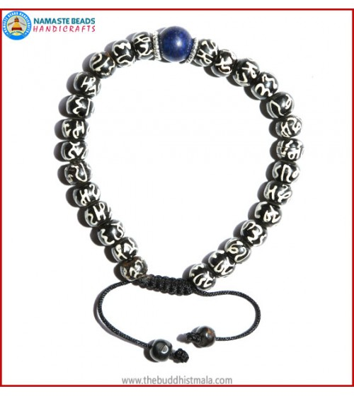 Mantra Itching Bone Bracelet with Lapis Lazuli Bead