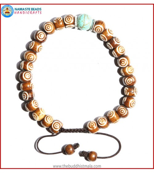 Brown Bone Carved Bracelet with Turquoise Bead