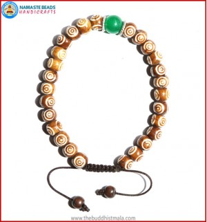 Brown Bone Carved Bracelet with Jade Bead