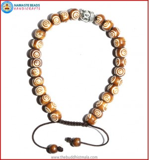 Brown Bone Carved Bracelet with Buddha Head