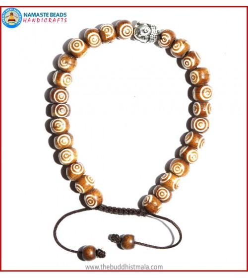 Brown Bone Carved Bracelet with Buddha Head