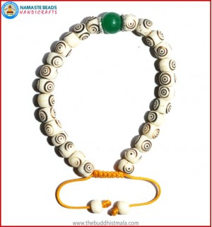 White Bone Carved Bracelet with Jade Bead