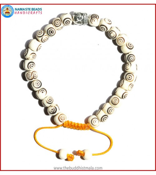 White Bone Carved Bracelet with Buddha Head
