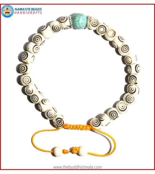White Bone Carved Bracelet with Turquoise Bead