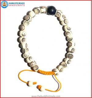 White Bone Carved Bracelet with Lapis Lazuli Bead