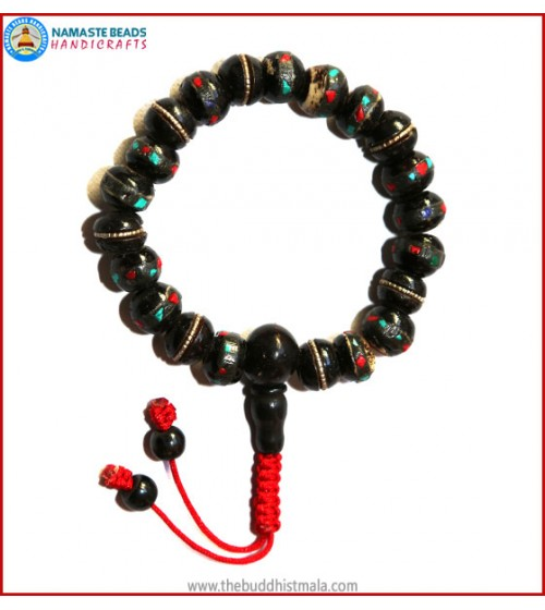 Inlays Black Bone Wrist Mala