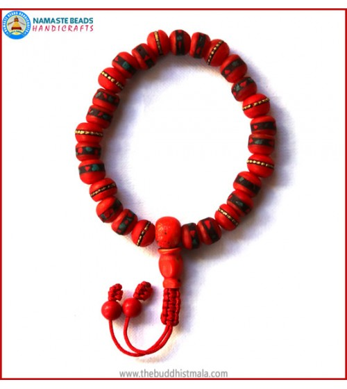Inlays Red bone Wrist Mala