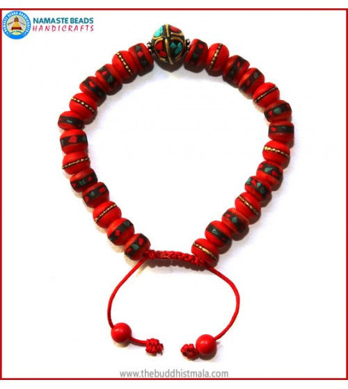 Inlays Red Bone Bracelet with Metal Bead