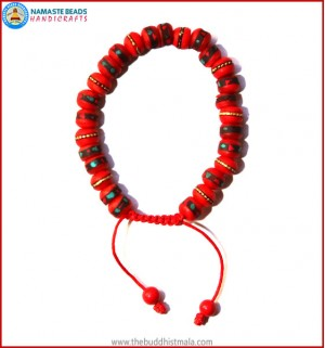 Inlays Red Bone Bracelet