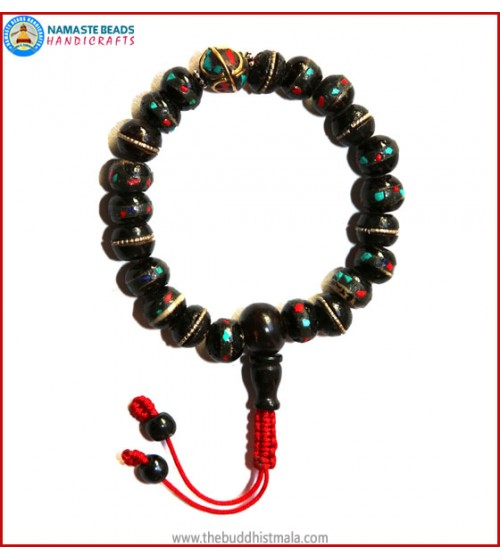 Inlays Black Bone Wrist Mala with Metal Bead