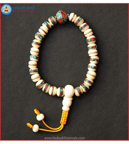 Inlays White Bone Wrist Mala with Metal Bead