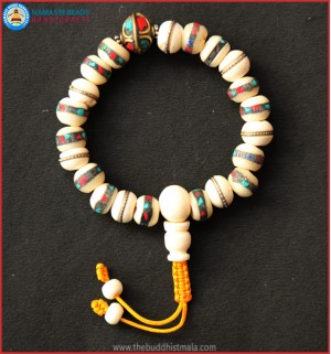 Inlays White Bone Wrist Mala with Metal Bead