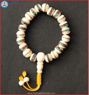 Inlays White Bone Wrist Mala