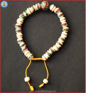 Inlays White Bone Bracelet with Metal Bead