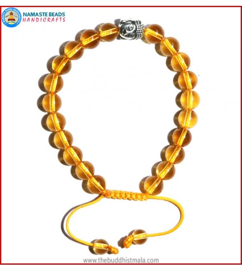 Citrine Stone Bracelet with Buddha Head Bead
