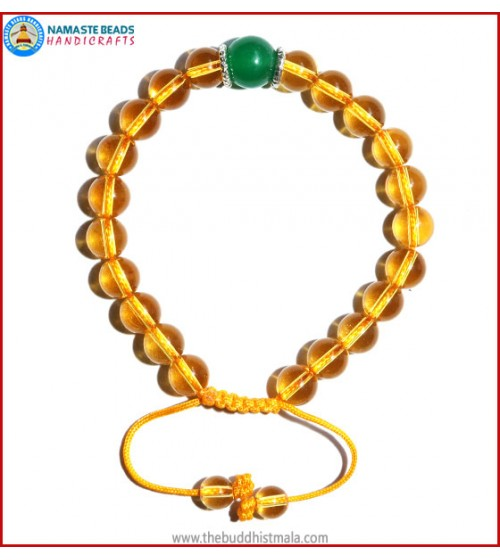 Citrine Stone Bracelet with Green Jade Bead
