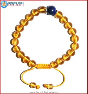 Citrine Stone Bracelet with Lapis Lazuli Bead