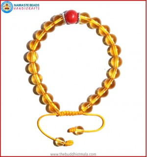 Citrine Stone Bracelet with Coral Bead
