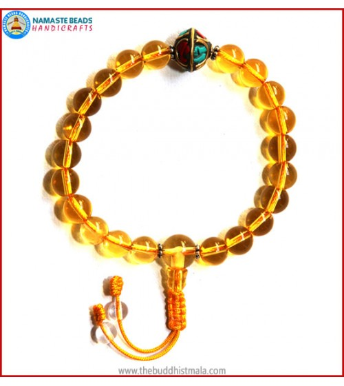 Citrine Wrist Mala with Inlays Metal Bead
