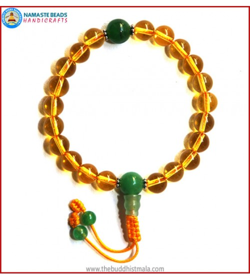 Citrine Wrist Mala with Green Jade Guru Bead