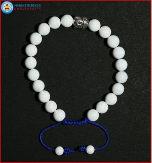 White Conch Shell Bracelet with Buddha Head