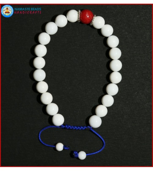 White Conch Shell Bracelet with Coral Bead