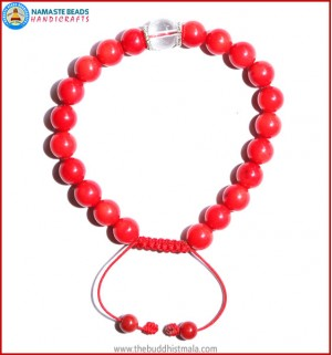 Coral Stone Bracelet with Crystal Bead