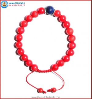 Coral Stone Bracelet with Lapis Lazuli Bead