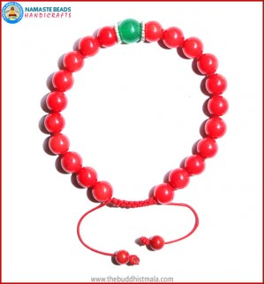 Coral Stone Bracelet with Green Jade Bead