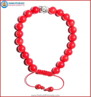 Coral Stone Bracelet with Buddha Head Bead