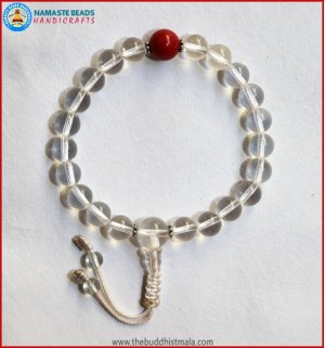 Crystal Wrist Mala With Coral bead