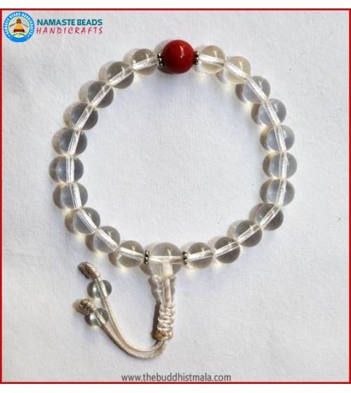 Crystal Wrist Mala With Coral bead