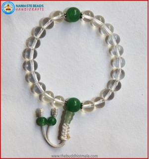 Crystal Wrist Mala With Jade bead