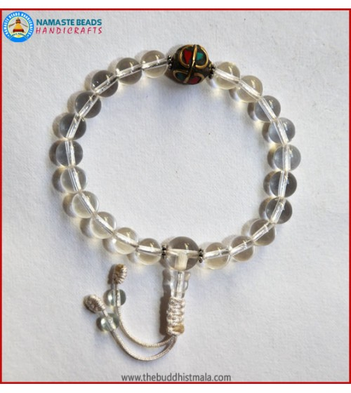 Crystal Wrist Mala With Inlays Metal Bead