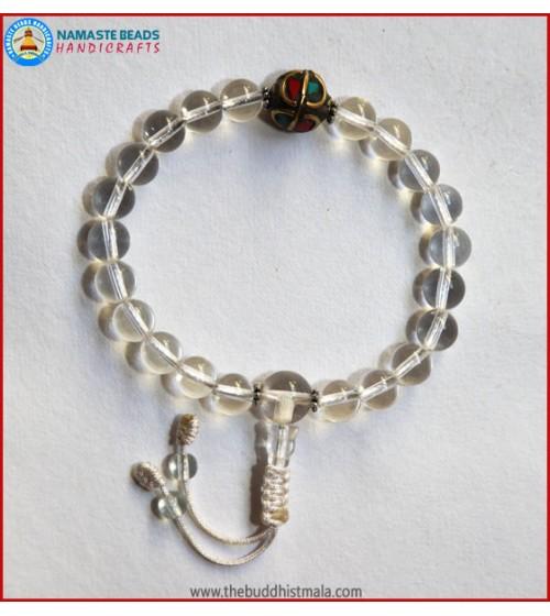 Crystal Wrist Mala With Inlays Metal Bead