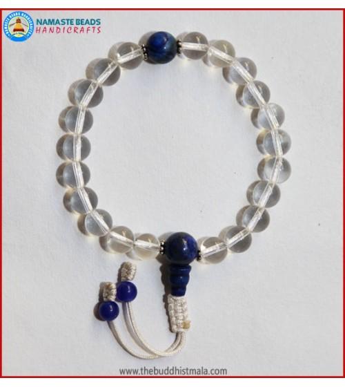 Crystal Wrist Mala With Lapis Lazuli Guru Bead