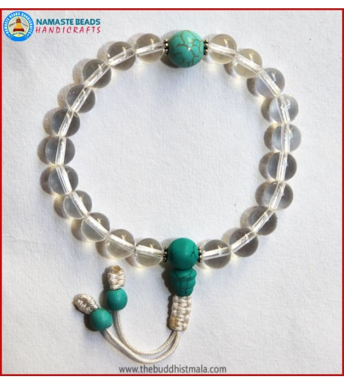 Crystal Wrist Mala With Turquoise Guru Bead