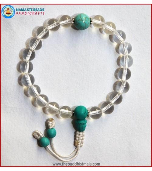 Crystal Wrist Mala With Turquoise Guru Bead