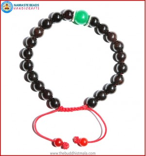 Garnet Stone Bracelet with Green Jade Bead
